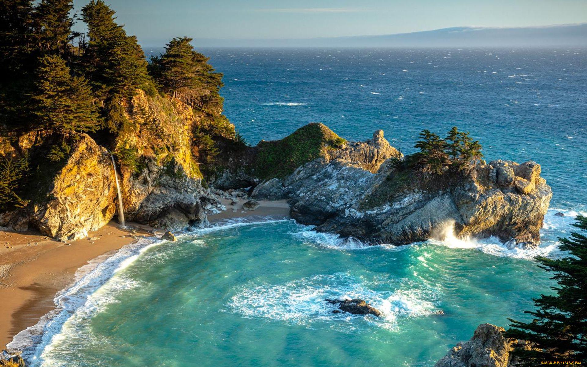 mcway cove, big sur, california, природа, побережье, mcway, cove, big, sur